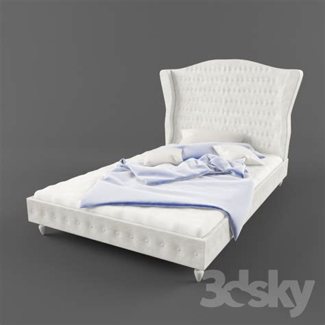 3d Models Bed  Double Bed With High Headrest