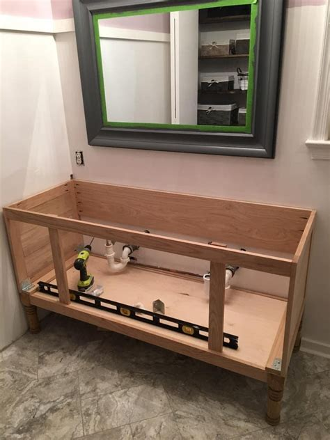 how to attach sink to vanity how to build a 60 quot diy bathroom vanity from scratch