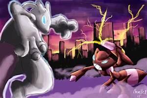 Mewtwo vs Shiny Genesect by Phatmon on DeviantArt