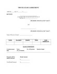Truck Lease Agreement Forms