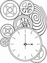Clock Coloring Steampunk Gears Drawing Pages War Face Printable Gear Sheets Patterns Pattern Sundial Template Adult Bing Mantle Drawings Quilting sketch template