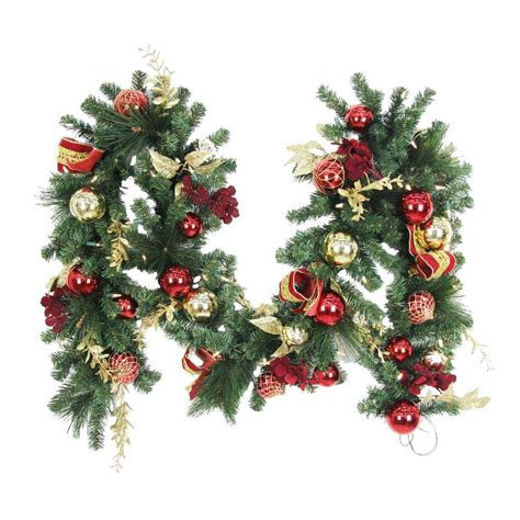 lighted christmas ornament garland 9 ft battery operated plaza artificial garland with 50