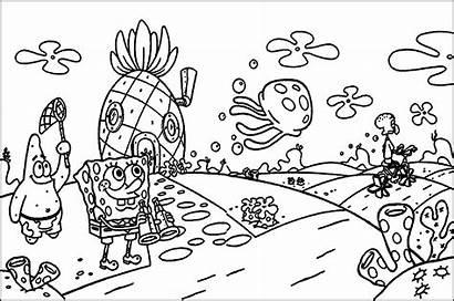 Mewarnai Pemandangan Gambar Spongebob Putih Hitam Sketsa