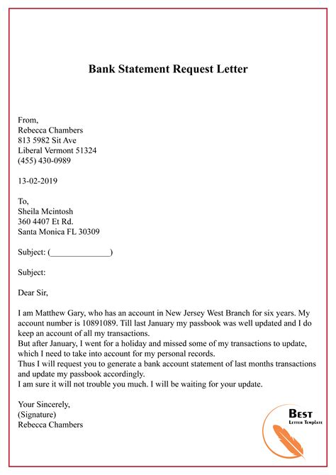 bank statement request letter   letter template