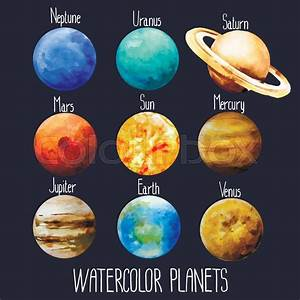 Watercolor Planets Isolated
