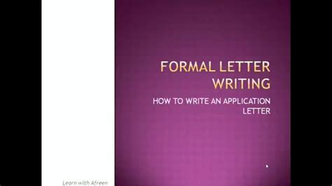 write job application letter youtube