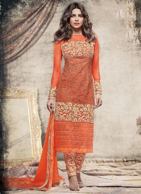 priyanka chopra orange net salwar suit fashion