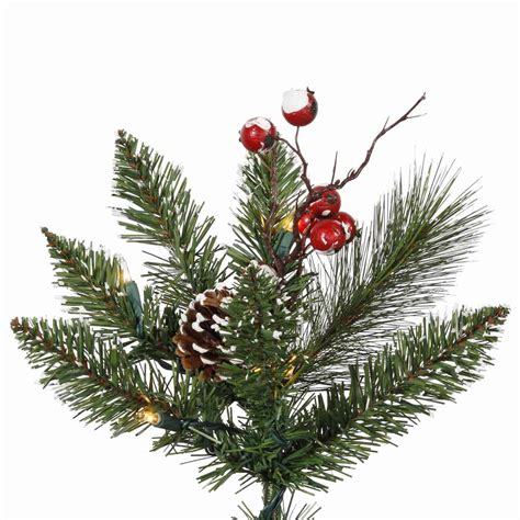 4 ft cone berry snow tip tree 2 foot snow tip tree with pine cones and berries mini lights b106225 vickerman