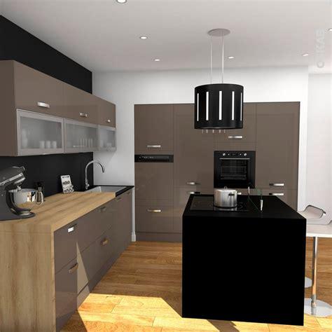 meubles hauts de cuisine meuble de cuisine taupe avec ilot de cuisine noir mat