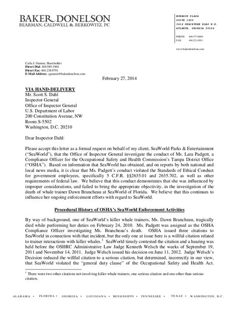 SeaWorld Labor Dept. Complaint letter-and-all-documents
