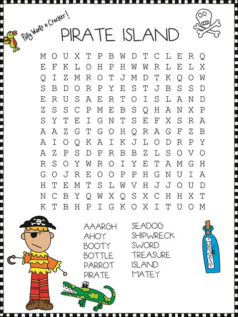 pirate word search  print activity shelter