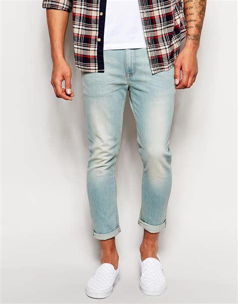light wash skinny jeans mens asos super skinny jeans ankle grazer in light wash in blue