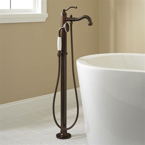 free standing tub faucet leta freestanding tub faucet with shower rubbed
