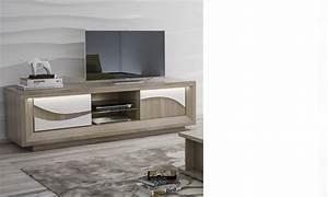 Meuble Tv Blanc Laqué Et Bois : meuble tv blanc laqu et couleur bois moderne vanille ~ Teatrodelosmanantiales.com Idées de Décoration