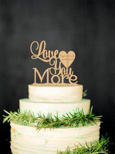 Love You More Personalized Wood Cake Topper Custom Wedding