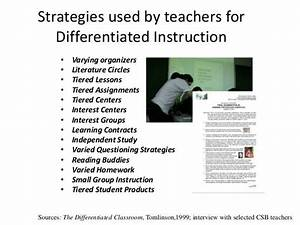 Strategies Used By Teachers For Differentiated Instruction