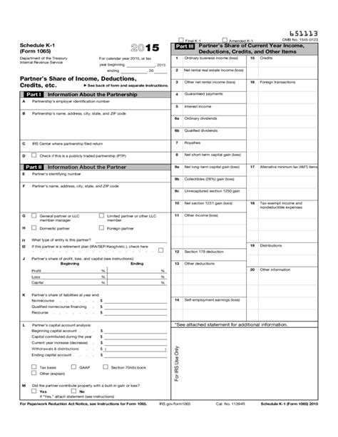 irs form for llc 1065 form 1065 schedule k 1 partner s share of income