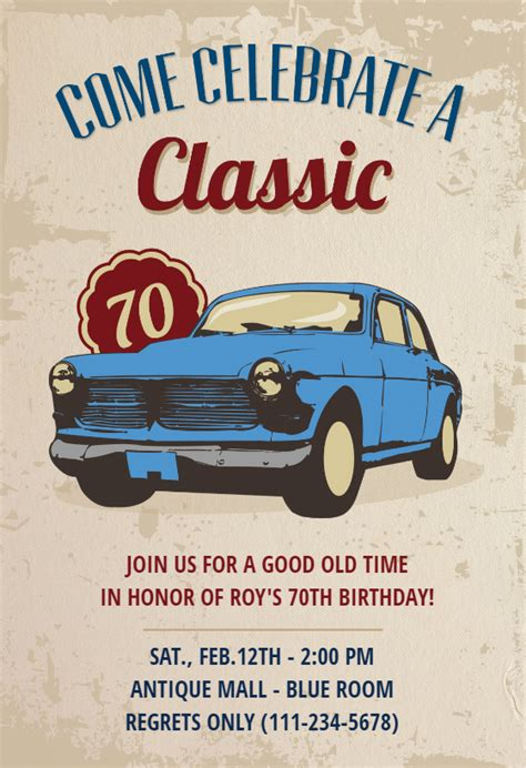 car classic  birthday birthday invitation template