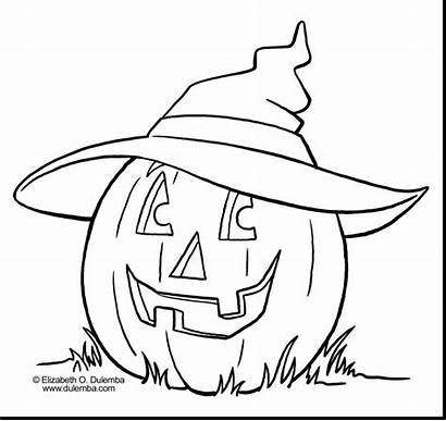 Coloring Pumpkin Pages Spooky Hat Printable