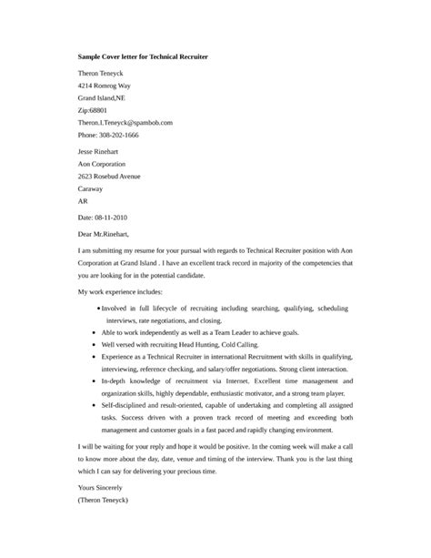 Sle Cover Letter For Recruiter Position by Basic Technical Recruiter Cover Letter Sles And Templates