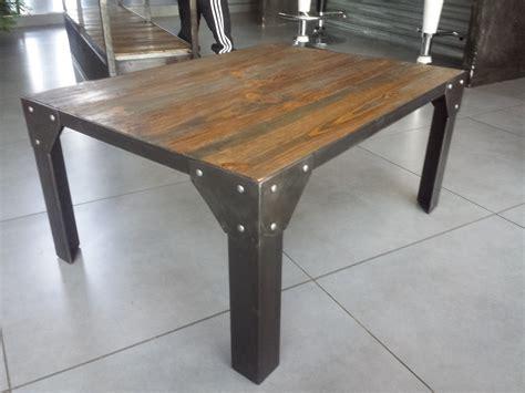 meuble cuisine acier table bois et acier table basse en bois et acier table
