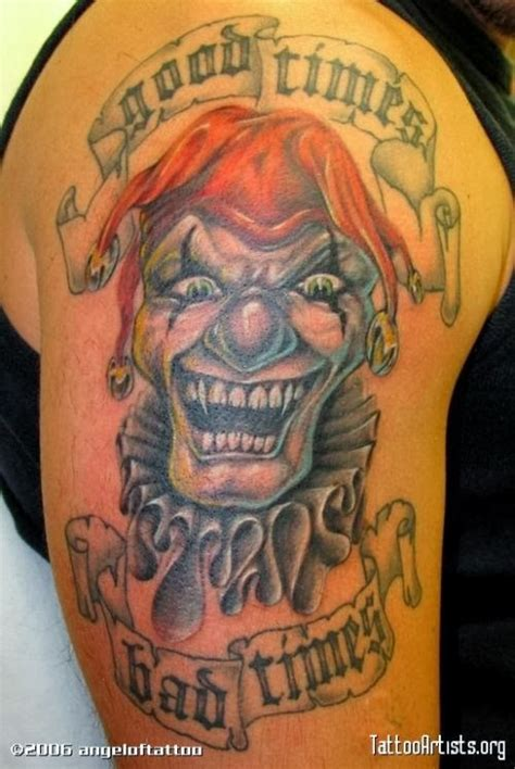 clown tattoo evil tattoos laughing joker designs bad clowns drawings head awesome skull times jester wicked gangster shoulder banner jokers