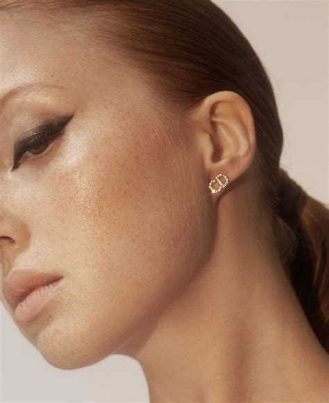 dior signature cd logo crystal clair  lune ss earrings