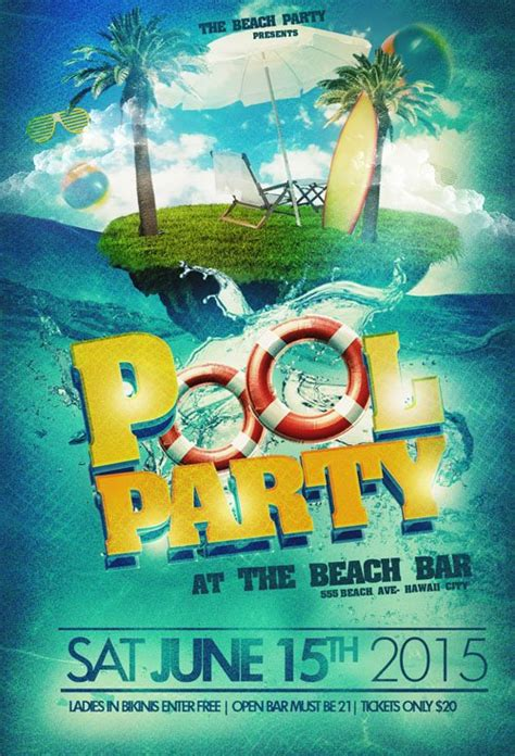 flyer template psd pool party beach nitrogfx