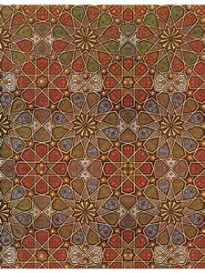 Arabic Art Gold Red Pattern Wallpaper And Fabric