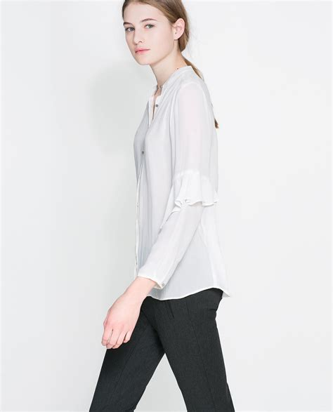 zara blouse zara blouse with ruffle sleeves in white lyst