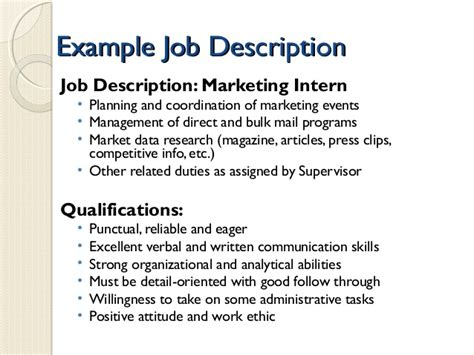 Marketing Internship Resume Description by Jan 15 2015 Developing A Professional Resume