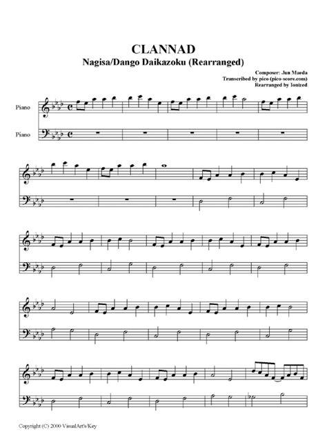 not lagu anime dango daikazoku piano sheet