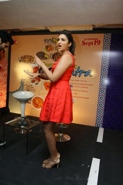 High Quality Bollywood Celebrity Pictures  Parineeti Chopra Sexy Cleavage and Legs Show In Red