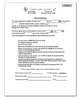 printable sample rental agreement template form real