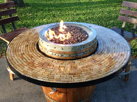 patio propane fire pit table wine barrel gas fire pit and patio table