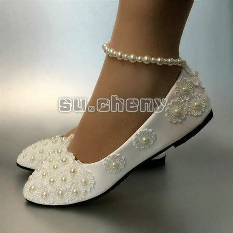 Wedding Flats by White Lace Wedding Shoes Pearls Ankle Trap Bridal Flats