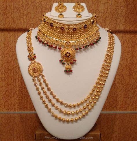 trendy gold haram necklace set fashion beauty mehndi