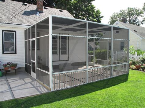 Backyard Screen Enclosures by White Screen Porch Enclosure With Flat Roofline And