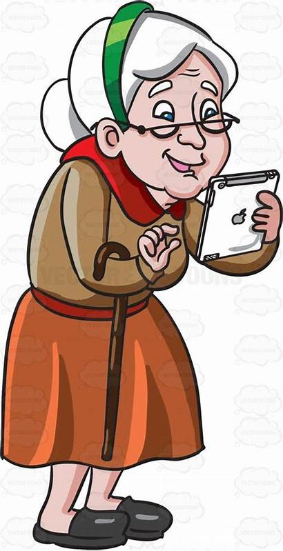 Lady Clipart Woman Cartoon Playing Mobile Games