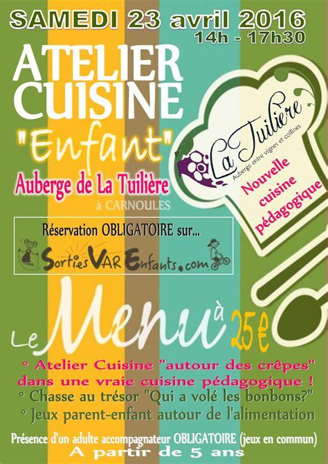 affiche cuisine affiche atelier cuisine sorties var enfants