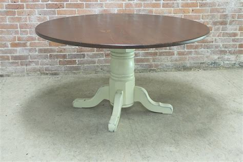 "54"" round rustic farm table   ECustomFinishes"