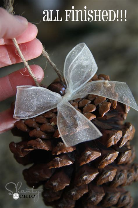 diy pinecone ornaments  tree shanty  chic