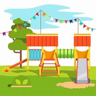 Playground Kindergarten Park Slide Outdoor Children Cartoon