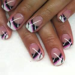 Summer gel nails design nail and pink black