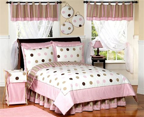 Pink Brown Polka Dot Cirlce Bedding Twin Or Full/queen