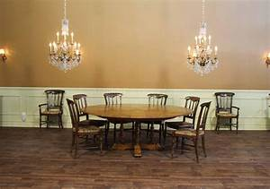 Large 64-84 Round Solid Oak Dining Table with Leaves