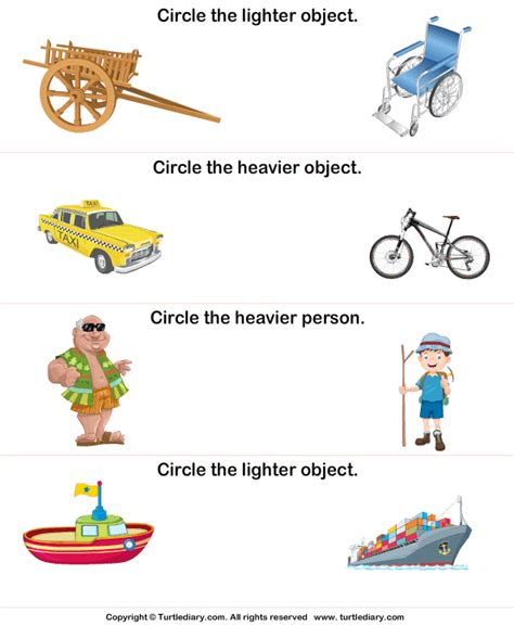 comparing objects lighter or heavier worksheet turtle diary