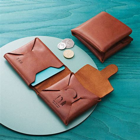personalised origami leather wallet  coin purse  man