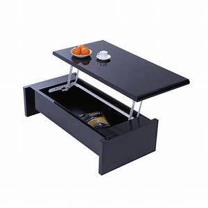 Table Avec Rangement : table basse design reglable noire avec rangement lola ~ Teatrodelosmanantiales.com Idées de Décoration