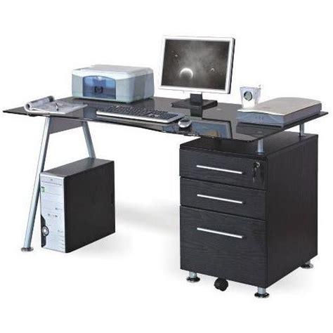 table bureau en verre bureau table informatique nero noir verre achat